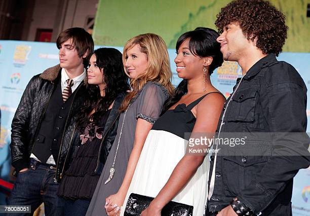 Actors Zac Efron Vanessa Anne Hudgens Ashley Tisdale Monique Coleman and Corbin Bleu arrive at the DVD premiere of Disney's High School Musical 2...