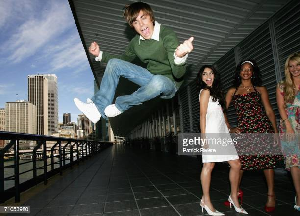 """Actors Zac Efron, Vanessa Anne Hudgens, Monique Coleman and Ashley Tisdale attend a photo call for """"High School Musical"""" at the Quay Restaurant on..."""