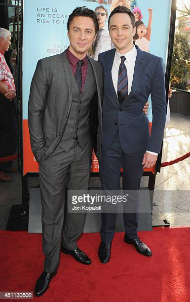 Actors Zach Braff and Jim Parsons arrive at the Los Angeles Premiere 'Wish I Was Here' at the DGA on June 23 2014 in Hollywood California