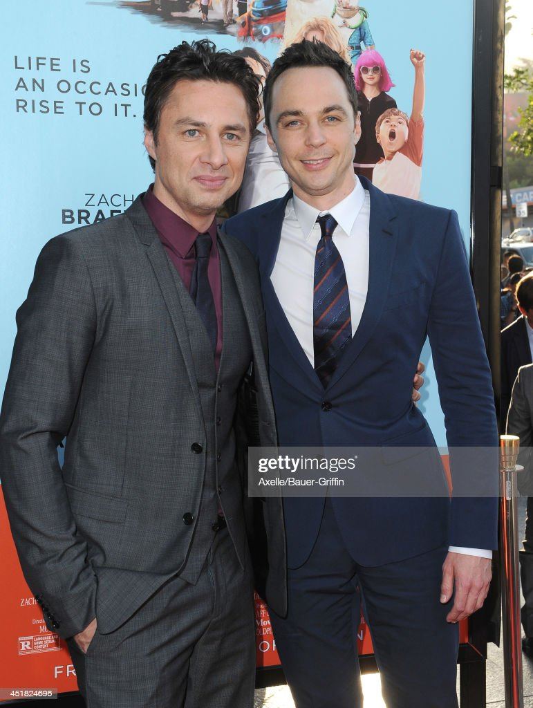 Actors Zach Braff (L) and Jim Parsons arrive at the Los Angeles Premiere 'Wish I Was Here' at the DGA Theater on June 23, 2014 in Los Angeles, California.