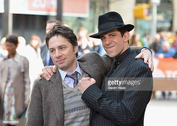 """Actors Zach Braff and Nick Cordero of """"Bullets Over Broadway"""" perform live on NBC's """"Today"""" at TODAY Plaza on May 6, 2014 in New York City."""