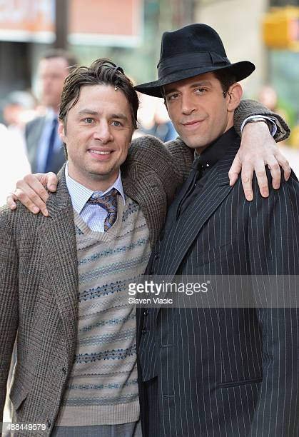 """Actors Zach Braff and Nick Cordero of """"Bullets Over Broadway"""" pose at NBC's """"Today"""" at TODAY Plaza on May 6, 2014 in New York City."""