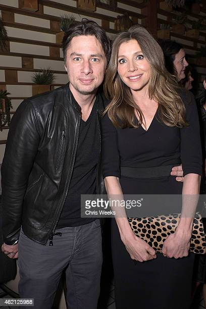 Actors Zach Braff and Sarah Chalke attend the Cougar Town wrap party at RivaBella on January 24, 2015 in West Hollywood, California.