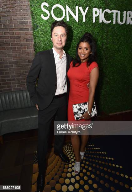 Actors Zach Braff and Tiya Sircar attend the Sony Pictures Television LA Screenings Party at Catch LA on May 24, 2017 in Los Angeles, California.