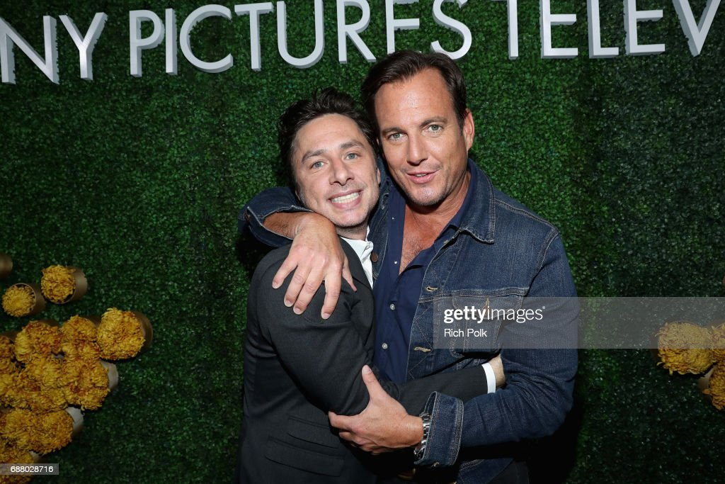 Actors Zach Braff (L) and Will Arnett attend the Sony Pictures Television LA Screenings Party at Catch LA on May 24, 2017 in Los Angeles, California.