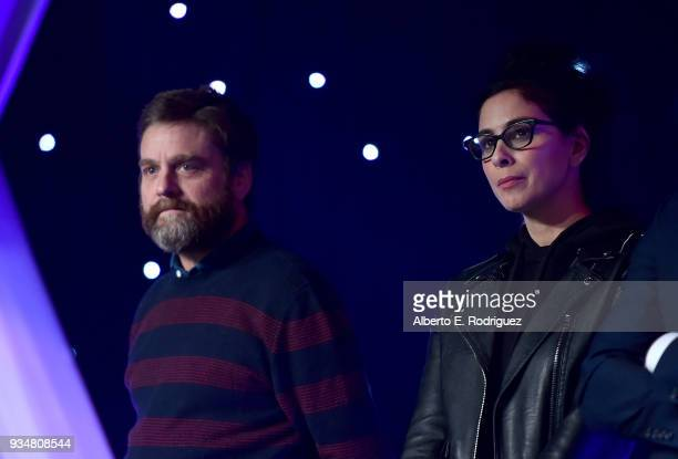 Actors Zach Galifianakis and Sarah Silverman attend the Venice Family Clinic's 36th Annual Silver Circle Gal at The Beverly Hilton Hotel on March 19...
