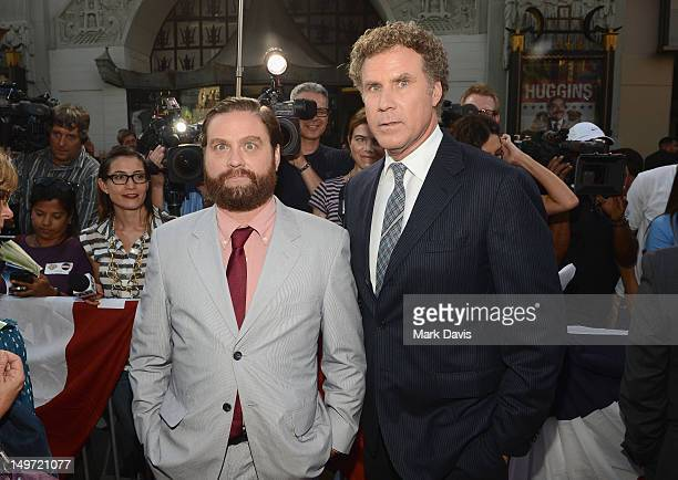 Actors Zach Galifianakis and Will Ferrell attend the Los Angeles Premiere of 'The Campaign' at Grauman's Chinese Theatre on August 2 2012 in...