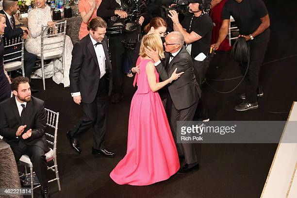 Actors Zach Galifianakis, Emma Stone, Amy Ryan and Michael Keaton attend TNT's 21st Annual Screen Actors Guild Awards at The Shrine Auditorium on...