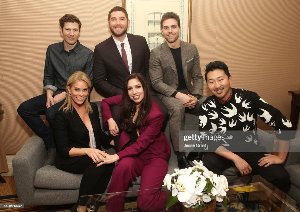 Actors Zach Gilford, Josh Feldman, Colt Prattes, (l-r, front row) Cheryl Hines, Shoshannah Stern and director/executive producer Andrew Ahn of the television show This Close pose for a photo in the green room during the AMC portion of the 2018 Winter Television Critics Association Press Tour on January 13, 2018 in Pasadena, California.