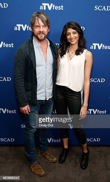 Actors Zachary Knighton and Meera Rohit Kumbhani attend the 'Weird Loners' press junket during aTVfest presented by SCAD on February 6 2015 in...