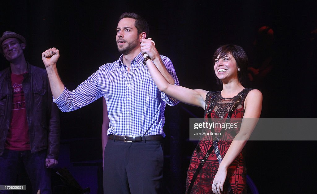 Actors Zachary Levi and Krysta Rodriguez attend 'First Date' Broadway Opening Night at Longacre Theatre on August 8, 2013 in New York City.