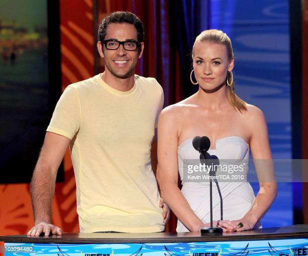 Actors Zachary Levi and Yvonne Strahovsky speak onstage during the 2010 Teen Choice Awards at Gibson Amphitheatre on August 8 2010 in Universal City...
