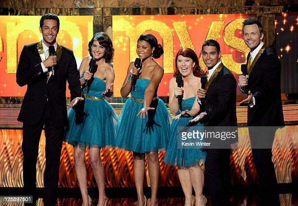 Actors Zachary Levi Cobie Smulders Taraji P Henson Kate Flannery Wilmer Valderrama and Joel McHale speak onstage during the 63rd Annual Primetime...