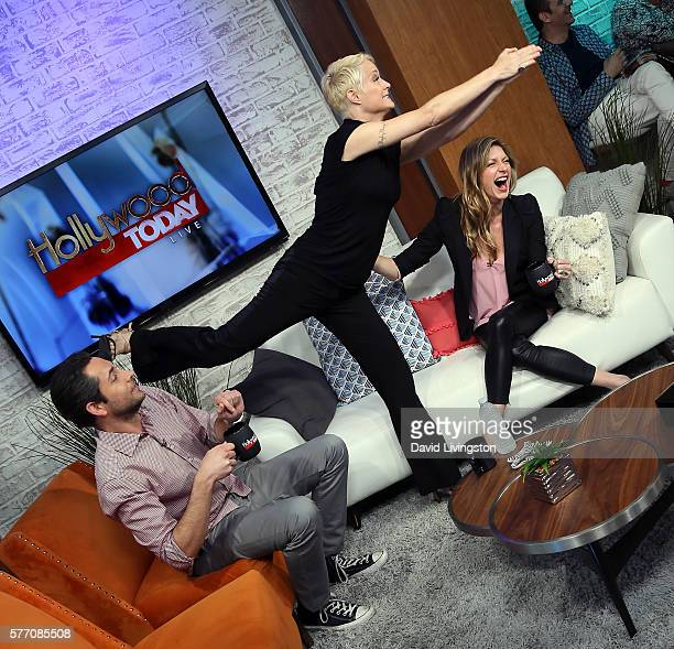Actors Zachary Levi Teri Polo and Jes Macallan visit Hollywood Today Live at W Hollywood on July 18 2016 in Hollywood California