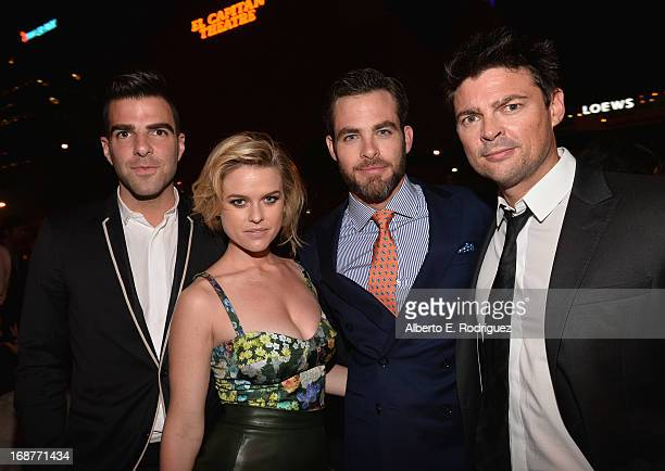 Actors Zachary Quinto Alice Eve Chris Pine and Karl Urban attend the after party for the premiere of Paramount Pictures' 'Star Trek Into Darkness' at...