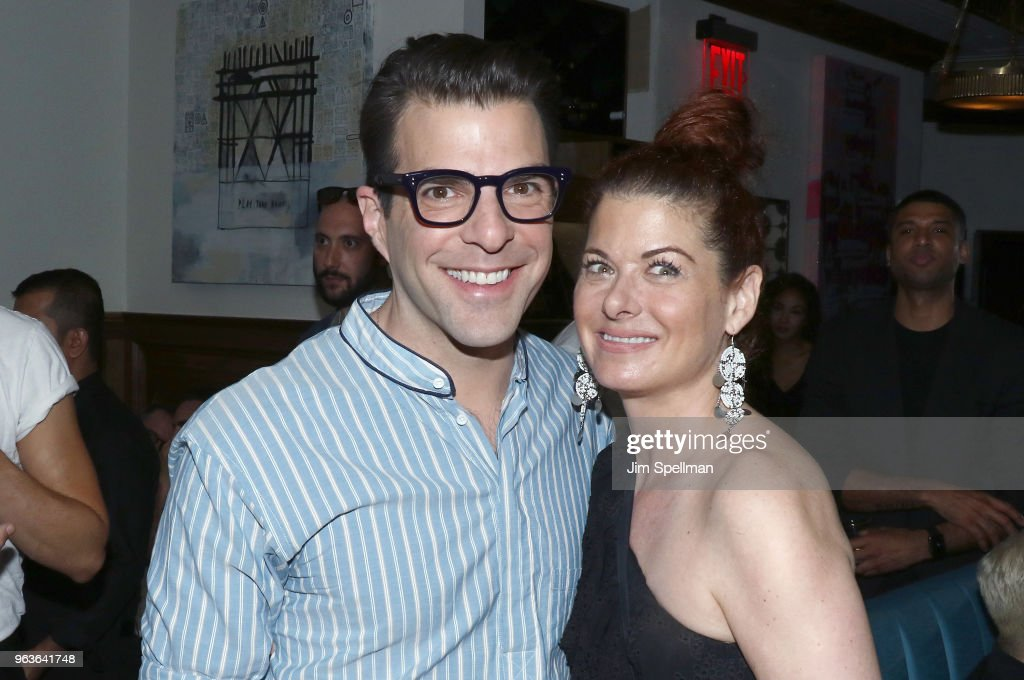 Actors Zachary Quinto and Debra Messing attend the screening after party for 'Hotel Artemis' hosted by Global Road Entertainment with The Cinema Society at the Society Cafe, at Walker Hotel Greenwich Village on May 29, 2018 in New York City.