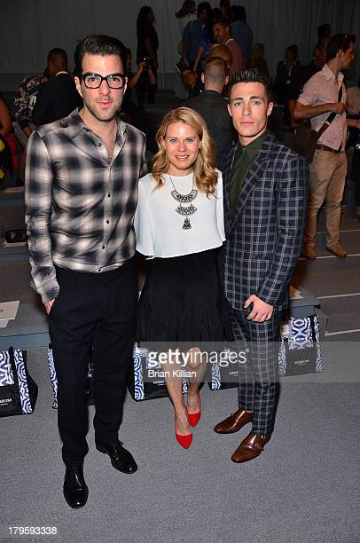 Actors Zachary Quinto Celia KeenanBolger and Colton Haynes attend the Richard Chai Love Richard Chai Men's show during Spring 2014 MercedesBenz...