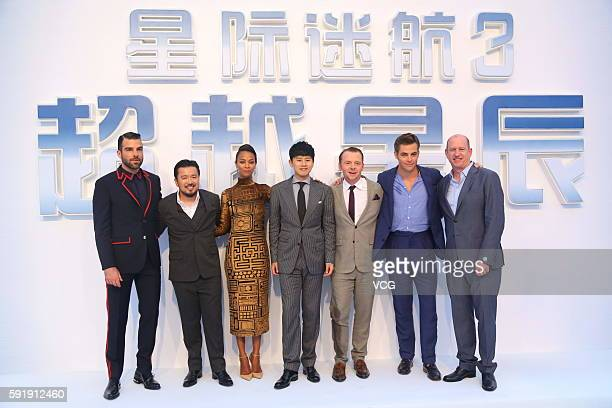 Actors Zachary Quinto director Justin Lin Zoe Saldana singer Zhang Jie Simon Pegg Chris Pine and Vice Chairman of Paramount Pictures Rob Moore attend...