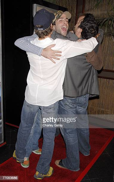 Actors Zachary Quinto Greg Grunberg Adrian Pasdar and Jack Coleman embrace at the premiere of NBC's Life at Celadon on September 26 2007 in Los...