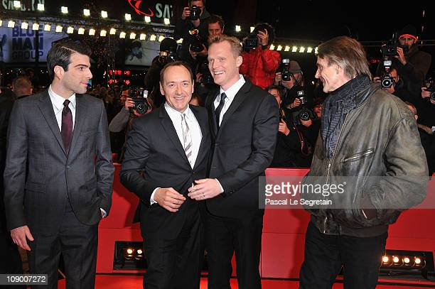 Actors Zachary Quinto Kevin Spacey Paul Bettany and Jeremy Irons attend the 'Margin Call' Premiere during day two of the 61st Berlin International...