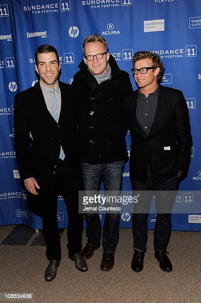 Actors Zachary Quinto Paul Bettany and Simon Baker attend Margin Call Premiere at the Eccles Center Theatre during the 2011 Sundance Film Festival on...