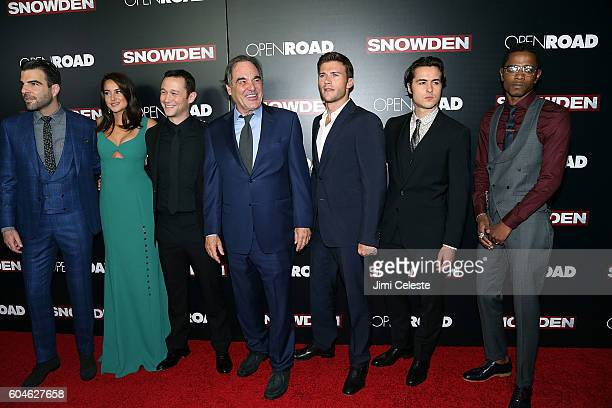 Actors Zachary Quinto Shailene Woodley Joseph GordonLevitt Diretor Oliver Stone Actors Ben Schnetzer and Keith Stanfield attending Open Road Films...