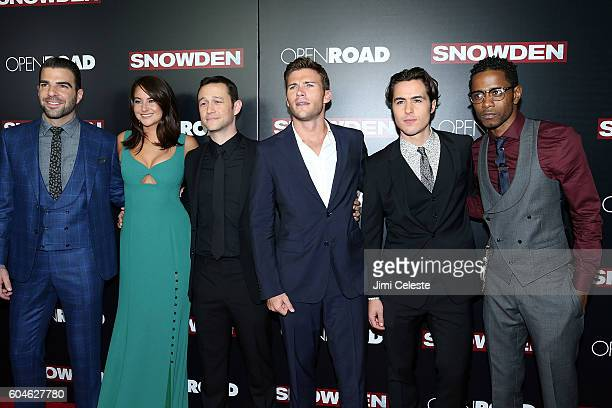 Actors Zachary Quinto Shailene Woodley Joseph GordonLevitt Scott Eastwood Ben Schnetzer and Keith Stanfield attending Open Road Films Presents the...