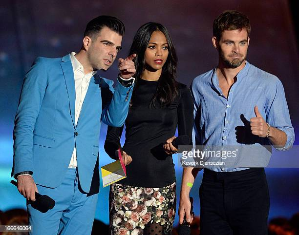 Actors Zachary Quinto Zoe Saldana and Chris Pine speak onstage during the 2013 MTV Movie Awards at Sony Pictures Studios on April 14 2013 in Culver...