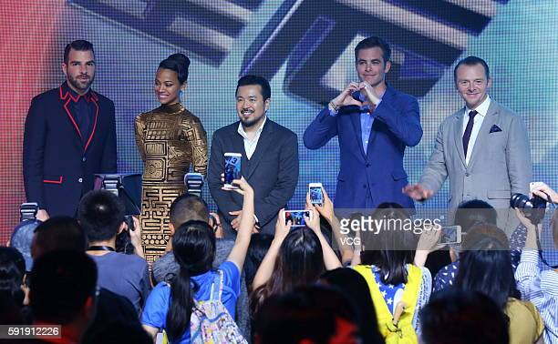 Actors Zachary Quinto Zoe Saldana director Justin Lin Chris Pine and Simon Pegg attend 'Star Trek Beyond' press conference at Indigo Mall on August...