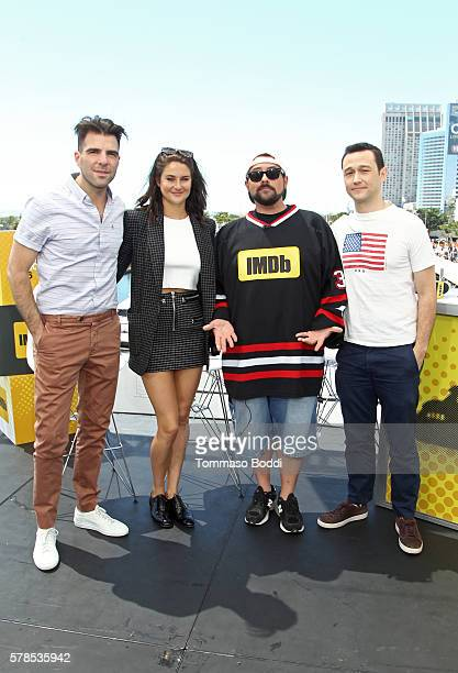 Actors Zachary QuintoShailene Woodley host Kevin Smith and actor Joseph GordonLevitt attend the IMDb Yacht at San Diego ComicCon 2016 Day One at The...