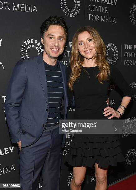 Actors Zack Braff and Sarah Chalke attend The Paley Center For Media presents An evening with 'Roseanne' at The Paley Center for Media on March 26...