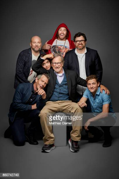 Actors Zak Penn Ben Mendelsohn Olivia Cooke director Steve Spielberg TJ Miller author Ernest Cline and Tye Sheridan from Ready Player One are...