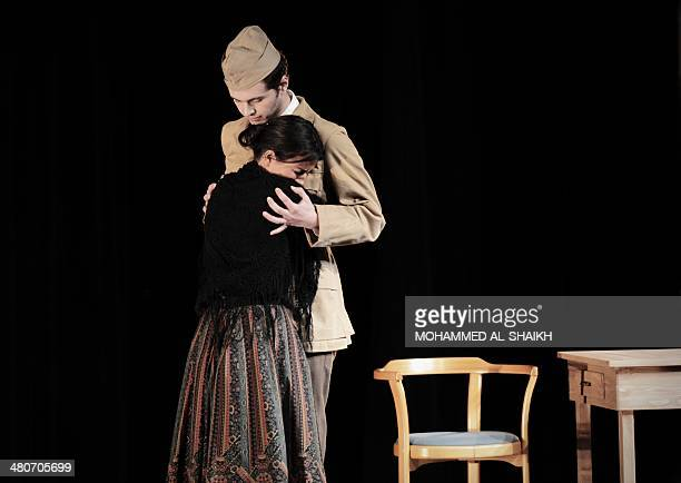 Actors Zak Sawalha and Dina Mousawi perform in a play titled Rest Upon The Wind commemorating the life and times of legendary Lebanese poet and...