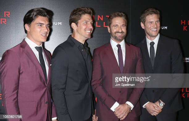 Actors Zane Holtz Michael Trucco Gerard Butler and Ryan McPartlin attend the world premiere of Hunter Killer hosted by Lionsgate at Intrepid...