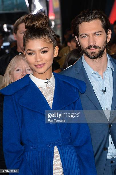 Actors Zendaya and Michiel Huisman enter the Good Morning America taping at the ABC Times Square Studios on April 22 2015 in New York City