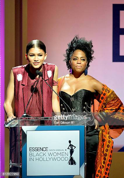 Actors Zendaya and Rhonda Ross Kendrick speak onstage during the 2016 ESSENCE Black Women In Hollywood awards luncheon at the Beverly Wilshire Four...