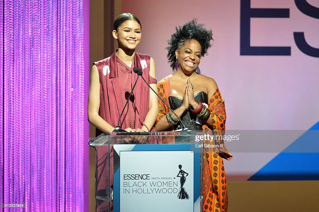 Actors Zendaya and Rhonda Ross Kendrick speak onstage during the 2016 ESSENCE Black Women In Hollywood awards luncheon at the Beverly Wilshire Four Seasons Hotel on February 25, 2016 in Beverly Hills, California.