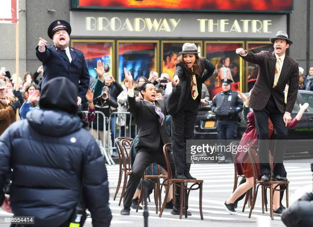R Actors Zendaya Hugh Jackman and James Corden are seen on the set of 'The Late Show With James Corden' on December 8 2017 in New York City