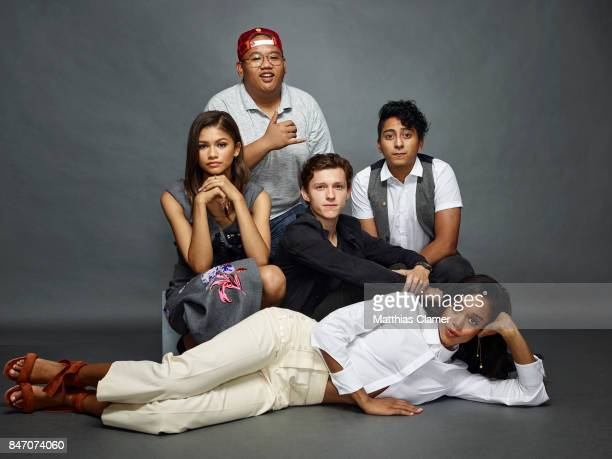 Actors Zendaya Jacob Batalon Tom Holland Tony Revolori and Laura Harrier from 'SpiderMan Homecoming' are photographed for Entertainment Weekly...