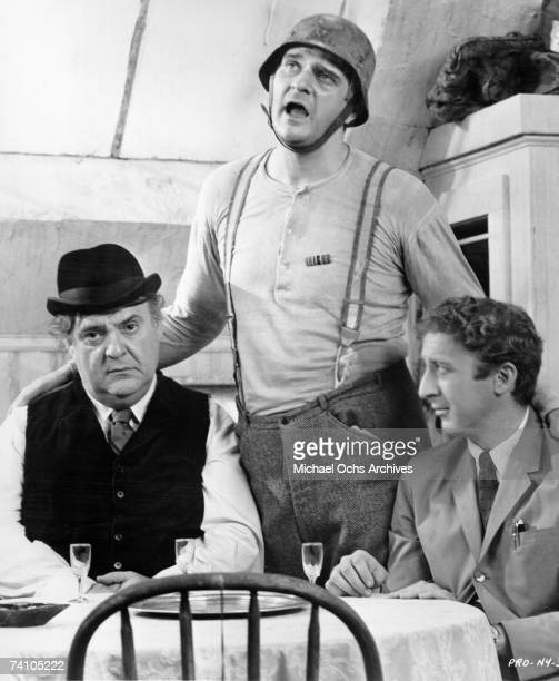 """Actors Zero Mostel, Kennety Mars and Gene Wilder perform scene in Mel Brooks classic movie """"The Producers"""". Winner of two Academy Awards."""