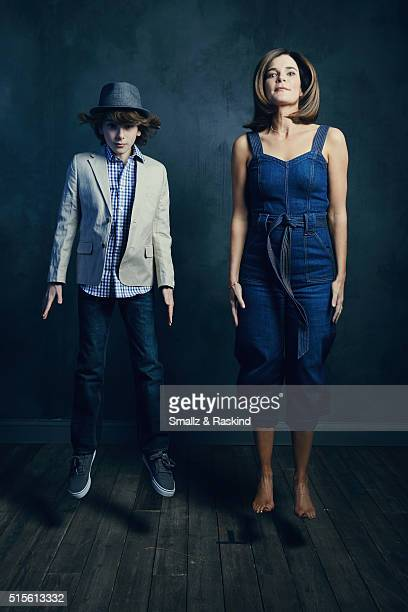 Actors Zev Haworth and Betsy Brandt of 'Claire In Motion' are photographed in the Getty Images SXSW Portrait Studio powered by Samsung at the Samsung...