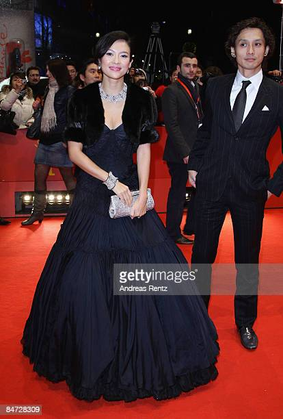 Actors Zhang Ziyi and Ando Masanobu attend the premiere for 'Forever Enthralled' as part of the 59th Berlin Film Festival at the Grand Hyatt Hotel on...