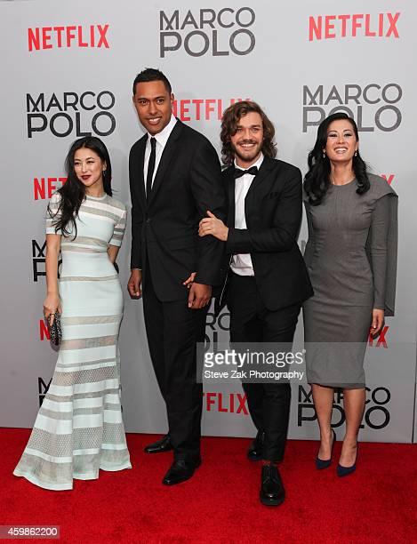 Actors Zhu Zhu Uli Latukefu Lorenzo Richelmy and Olivia Cheng attend the 'Marco Polo' New York series premiere at AMC Lincoln Square Theater on...