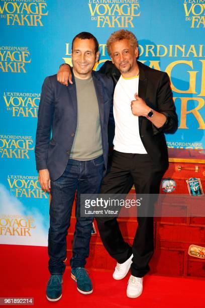 Actors Zinedine Soualem and Abel Jafri attend 'L'Extraordinaire Voyage du Fakir' Paris Premiere at Publicis Champs Elysees on May 23 2018 in Paris...