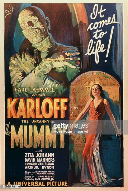 Actors Zita Johann and Boris Karloff appear on the poster for the Universal Pictures film 'The Mummy 1932