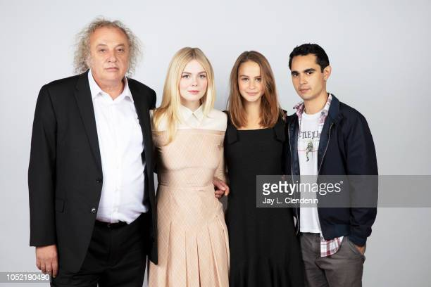 Actors Zlatko Buric Elle Fanning Clara Rugaard and director/writer Max Minghella from 'Teen Spirit' are photographed for Los Angeles Times on...