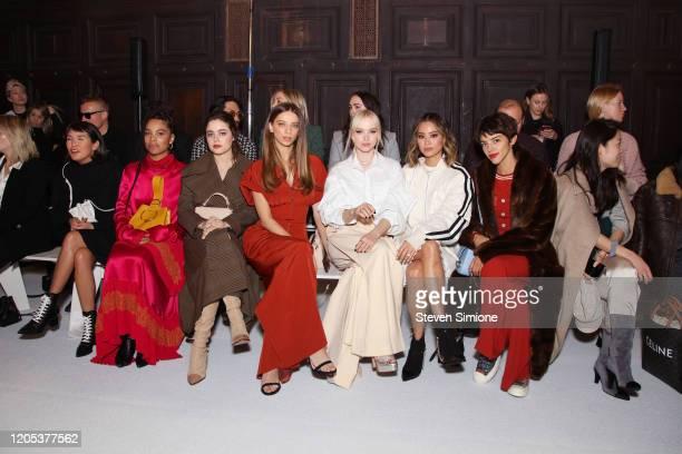 Actors Zoe Chao Nesta Cooper Molly Gordon Angela Sarafyan Dove Cameron Jamie Chung and Calu Rivero attend the Adeam fashion show during February 2020...
