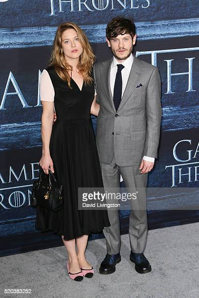 Actors Zoe Grisedale and Iwan Rheon arrive at the premiere of HBO's 'Game of Thrones' Season 6 at the TCL Chinese Theatre on April 10 2016 in...