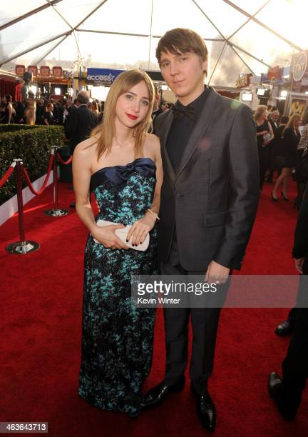 Actors Zoe Kazan and Paul Dano attend the 20th Annual Screen Actors Guild Awards at The Shrine Auditorium on January 18 2014 in Los Angeles California