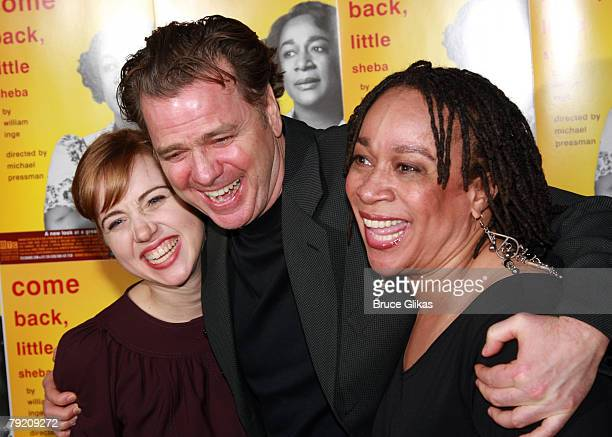"Actors Zoe Kazan, Kevin Anderson and S. Epatha Merkerson pose at The Opening Night Party for the Revival of ""Come Back, Little Sheba"" at Planet..."